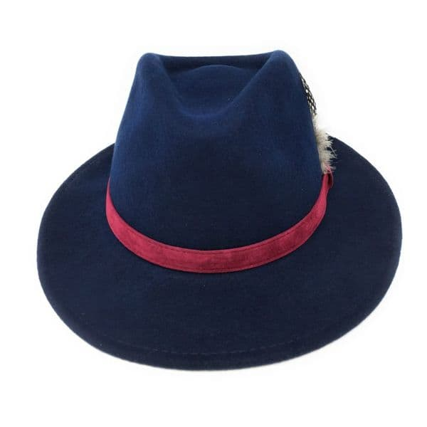 Fedora Hat: Navy with Raspberry Velvet Band and Removable Feather
